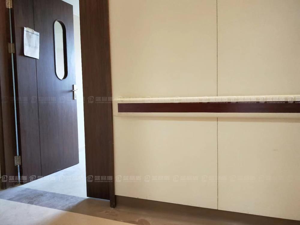 深圳龙岗妇产医院里的木纹色防撞扶手现场图集
