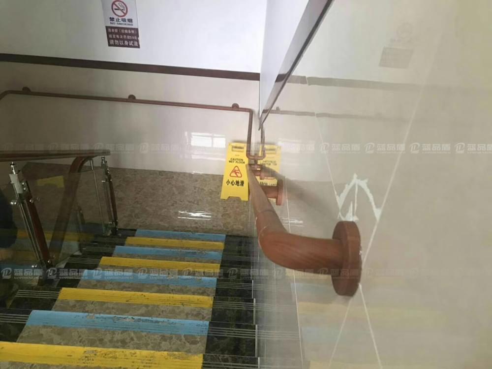 广州南国颐景老年公寓里的残疾人通道扶手应用水转印木纹色