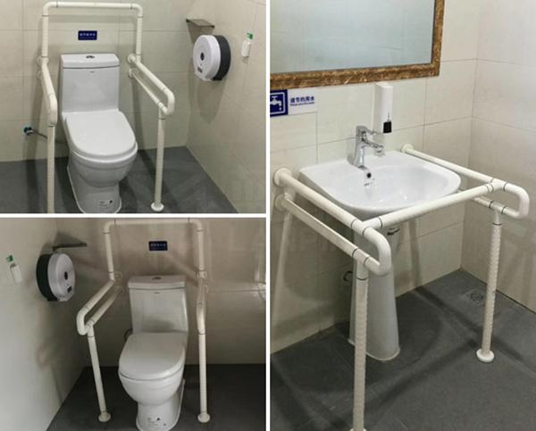 武汉汉蔡高速服务区公共厕所无障碍扶手案例【蓝品盾】